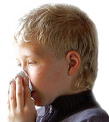 Child with respiratory allergic reaction